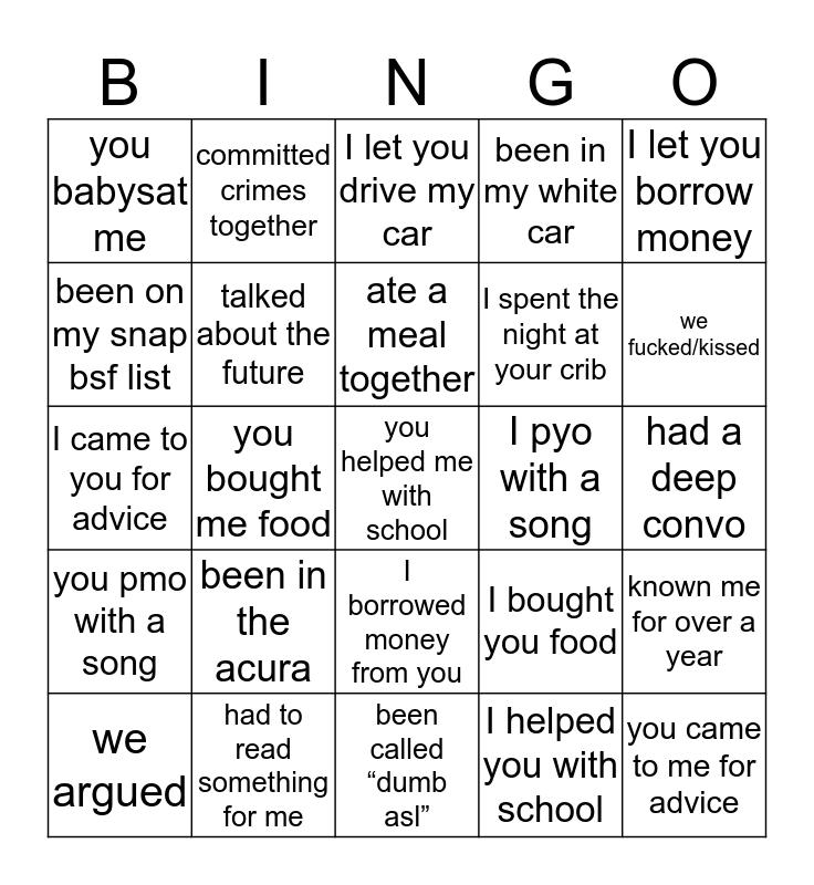 big dick justin Bingo Card