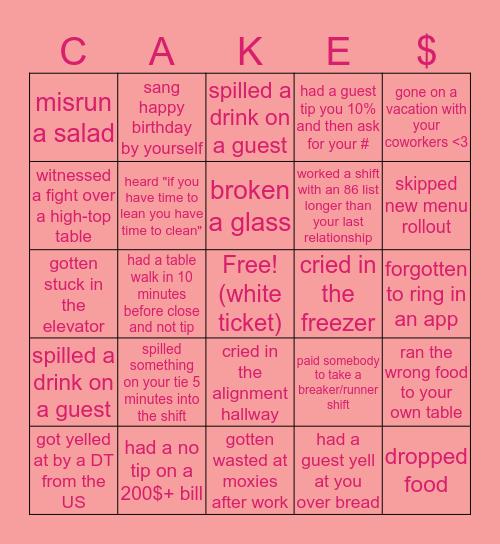 Cheesecake Factory Bingo $$$ Bingo Card