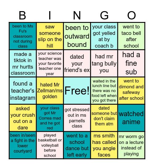 Bret Harte Bingo Card