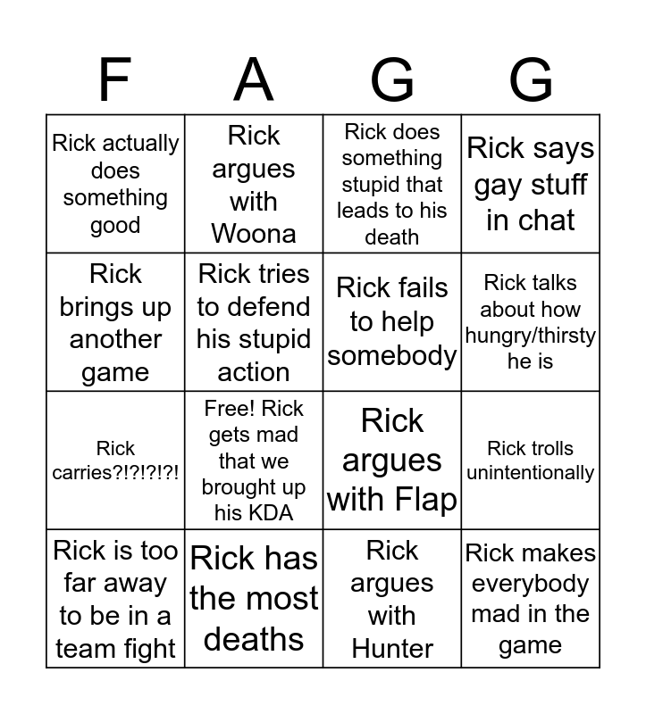 Rick's A Gaybo Bingo Card