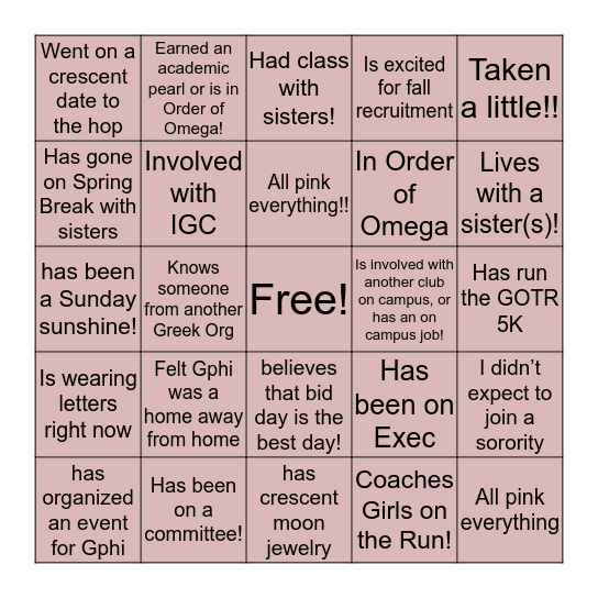 Gamma Phi Beta Bingo Epsilon Psi Edition Bingo Card