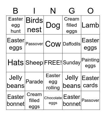 Easter Bingo Card