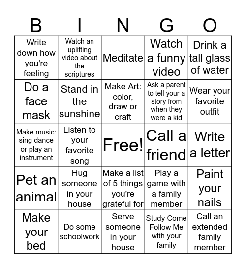 Social Distancing Self Care Bingo Card