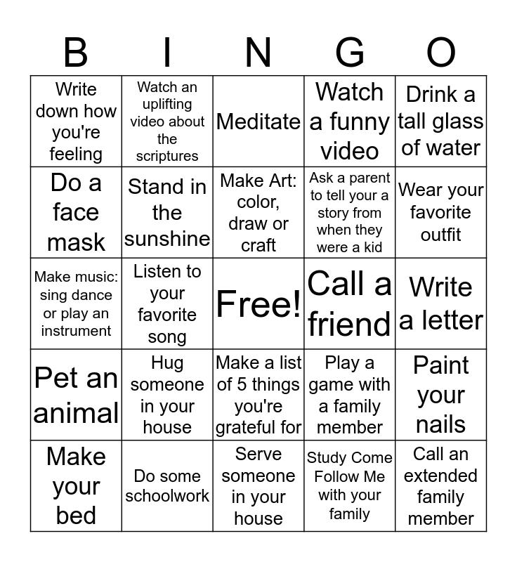 Social Distancing Self Care Bingo Card