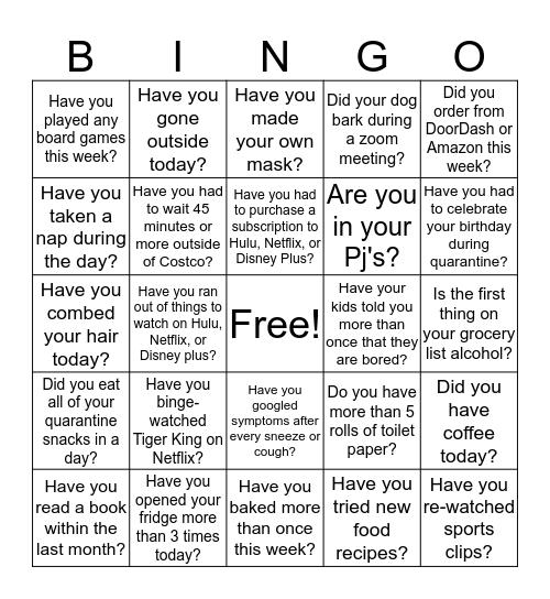 Quarantine Bingo Card