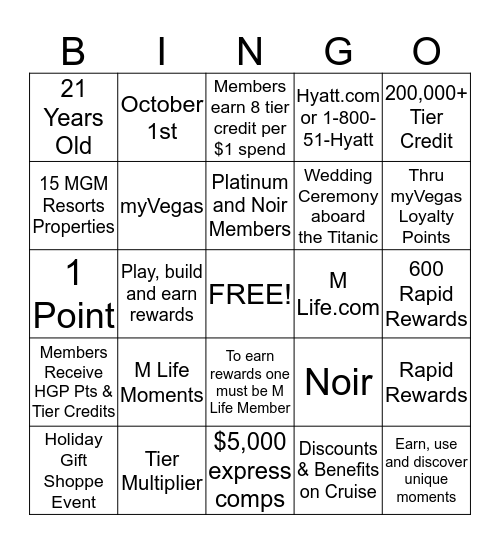 How Well Do You Know M Life Bingo Card