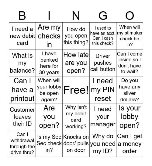 THE PURGE Bingo Card