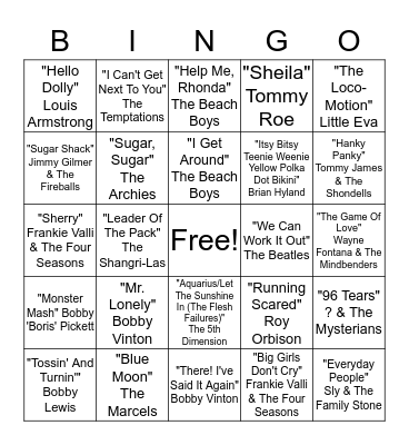 Top Songs of the 1960s Bingo Card