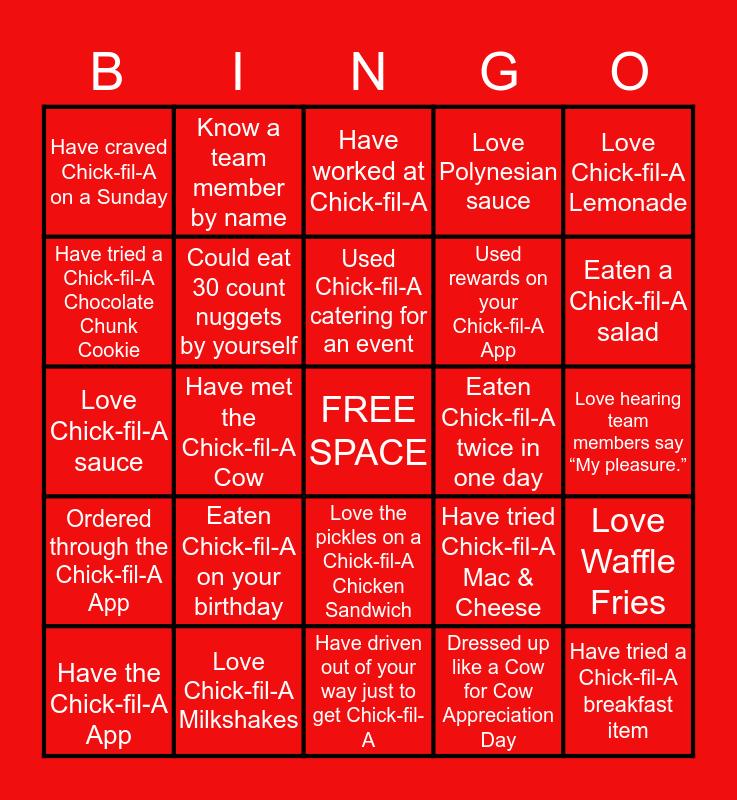 Chick-fil-A Bingo Card