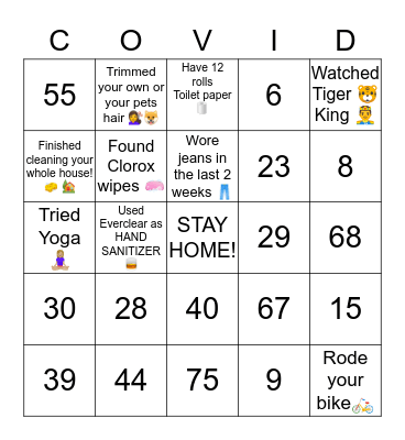 COVID-19 Bingo Card