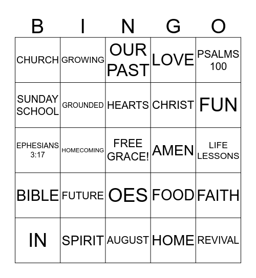 O E S Surprise Bingo Card