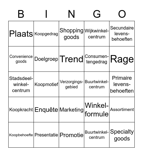 Thema VERKOPEN Bingo Card