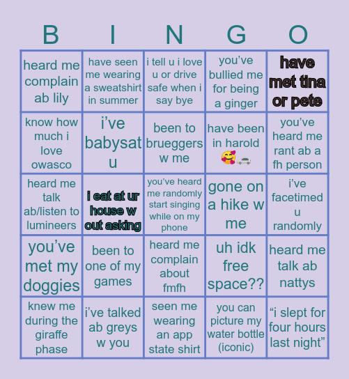 claire's bingo🥰🤩☘️ Bingo Card