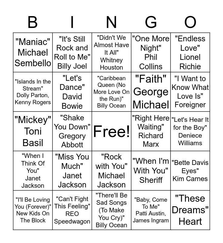 Top Songs of the 1980s Bingo Card