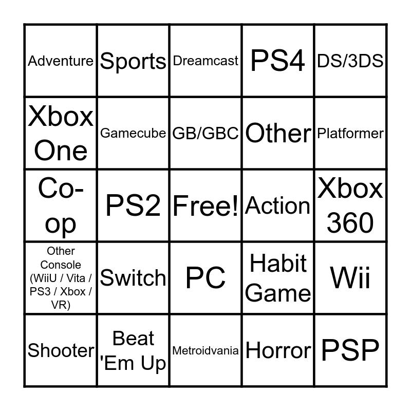 Video Game Bingo Card
