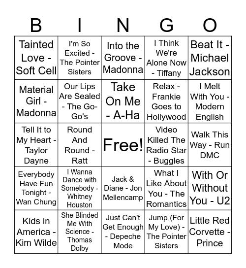 80s Music Bingo Card