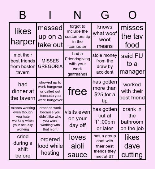 Boston Tavern Bingo Card