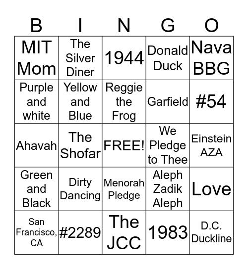 Ahavah Bingo  Bingo Card