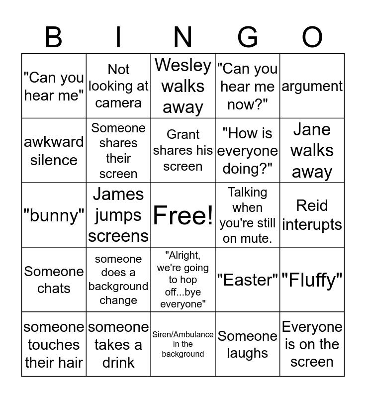 Easter Zoom Meeting Bingo Card