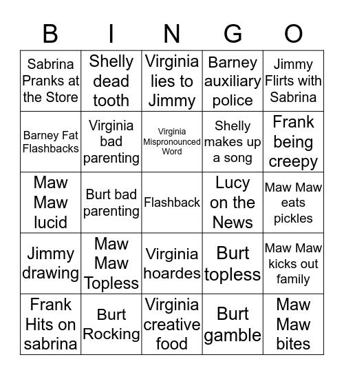 Raising Hope Bingo Card