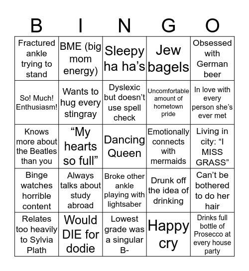 Danielle Bingo Card
