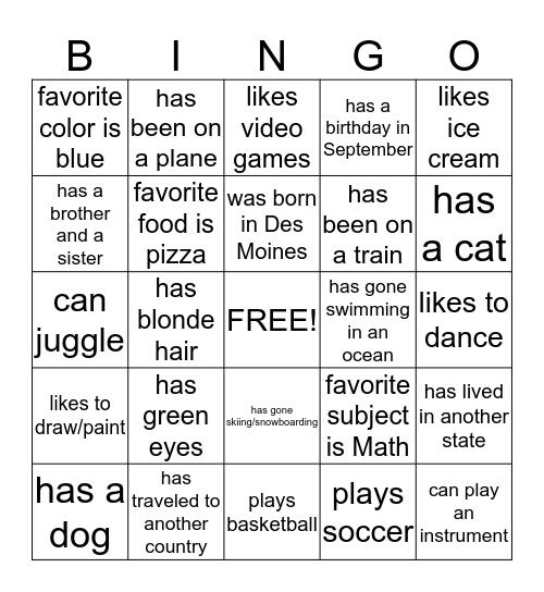 Beginning of the Year Bingo! Bingo Card