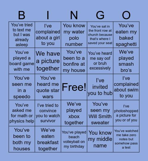 Caleb's friend bingo Card