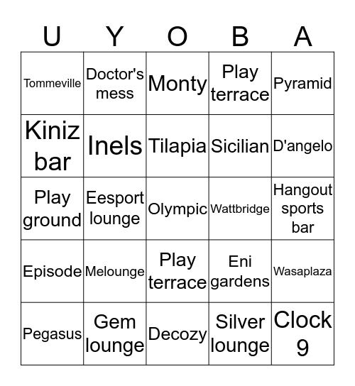 Uyo Bars Bingo Card