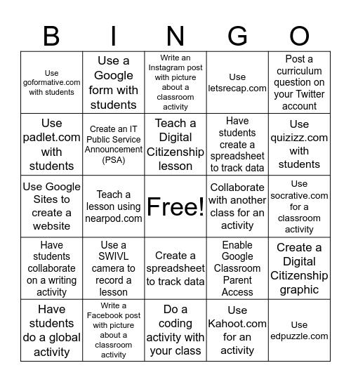 Digital Learning Bingo Card