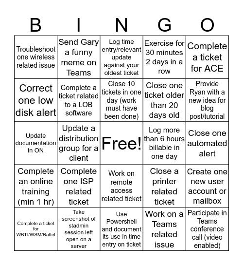 SWICKtech Quarantine Bingo Card