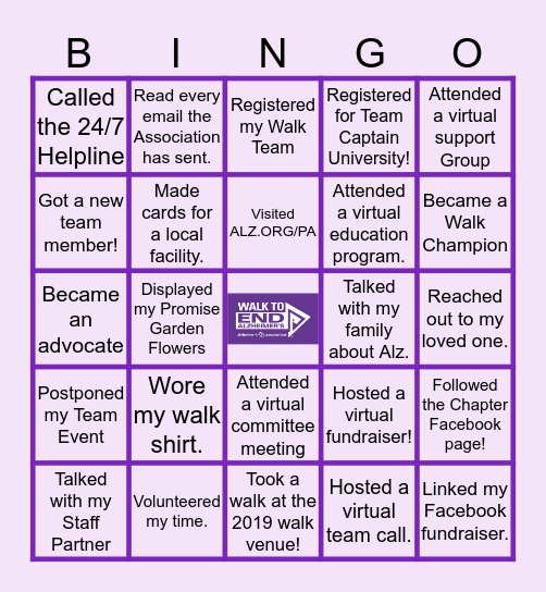 WALK TO END ALZ BINGO Card