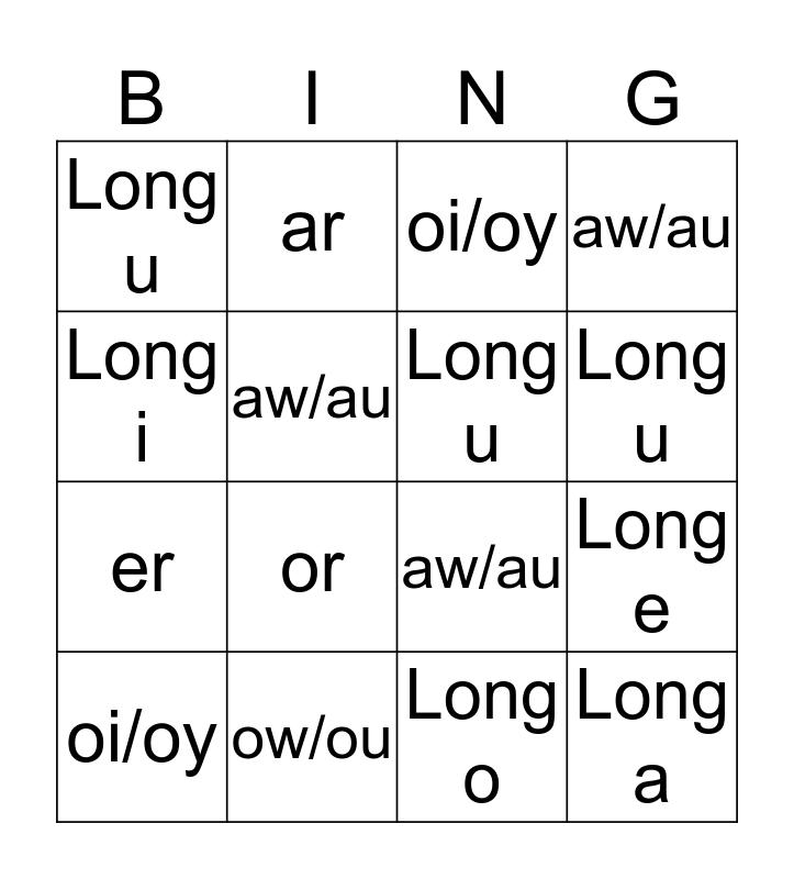 Phonics Bingo # 2 Bingo Card