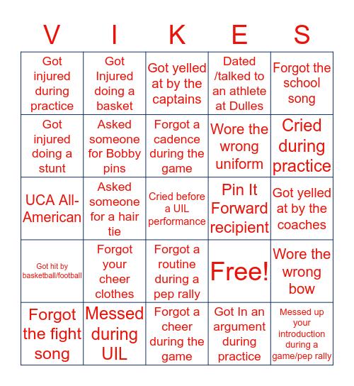 Dulles Cheer Bingo Card