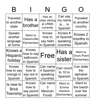 Bienvenidos a la clase de espanol Bingo Card