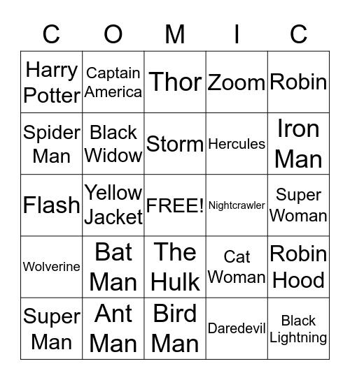 Superhero Bingo Card