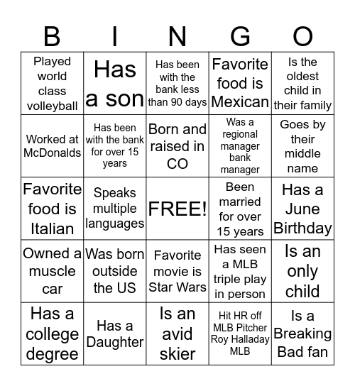 Banker Bingo Card