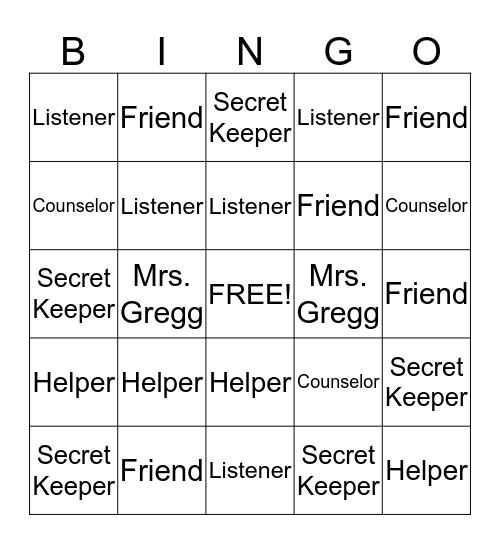 Counselor Bingo Card