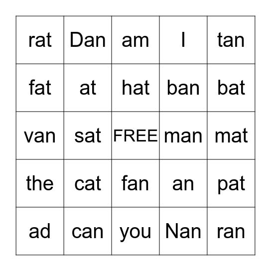 an & at words Bingo Card