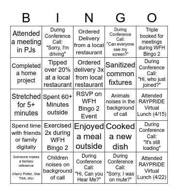 Work From Home Bingo 2 Bingo Card