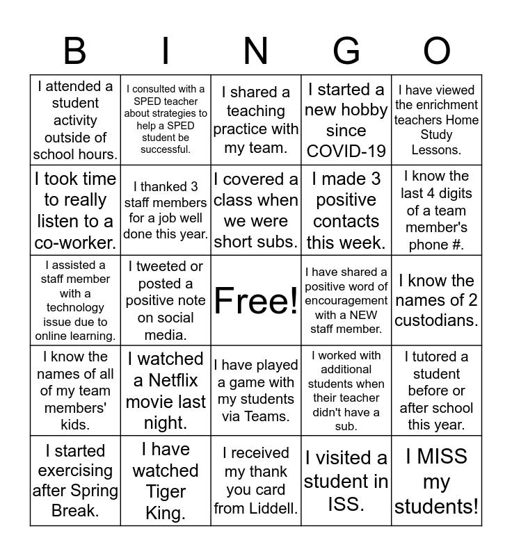 Janet Brockett Staff Bingo Card