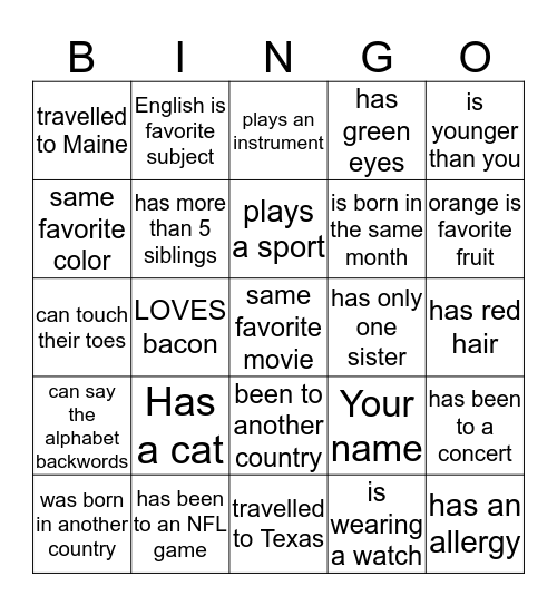 Get to know you Bingo Card
