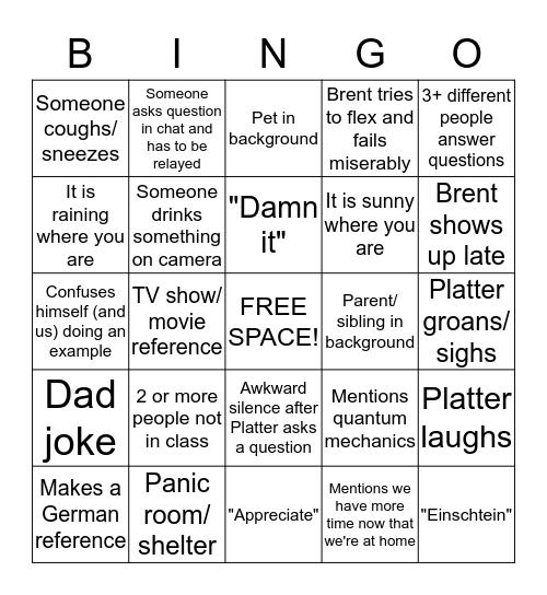 Lagrange Bingo Card