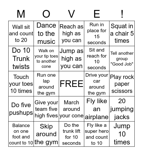 PE FITNESS BINGO Card