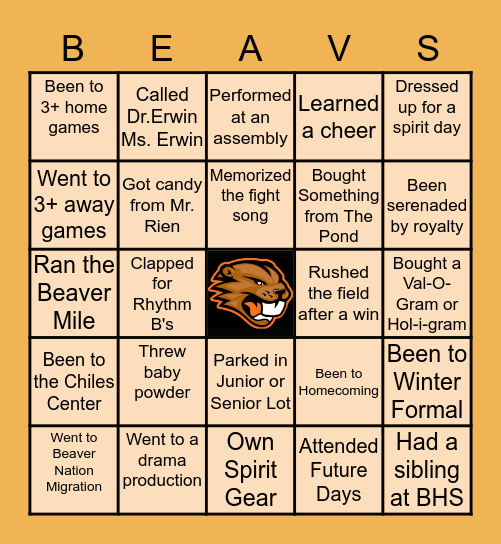 Beaverton High Bingo Card