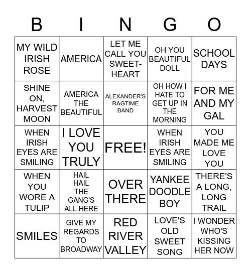 Sing-Along  Bingo Card