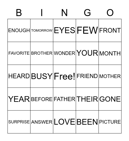 ELI'S SIGHT WORDS UNIT 6 Bingo Card