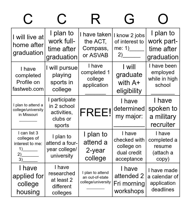 I AM College & Career Ready Bingo Card