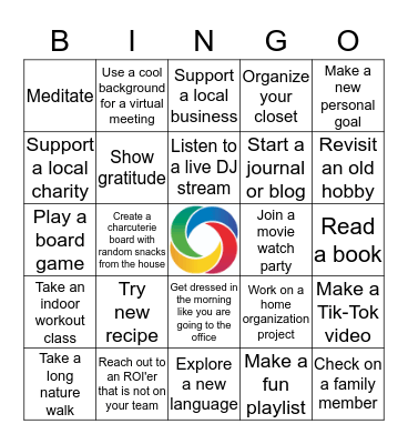 Work from Home Bingo Card