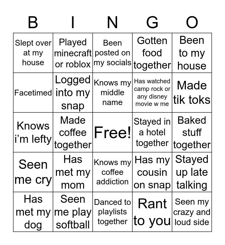 kayla bingo Card