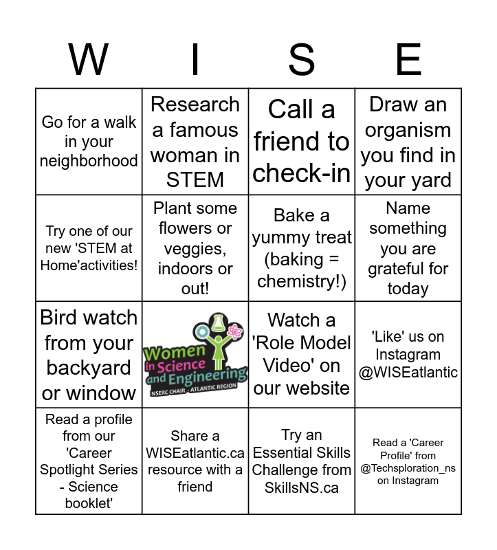 WISEatlantic 'Bingo' Bingo Card